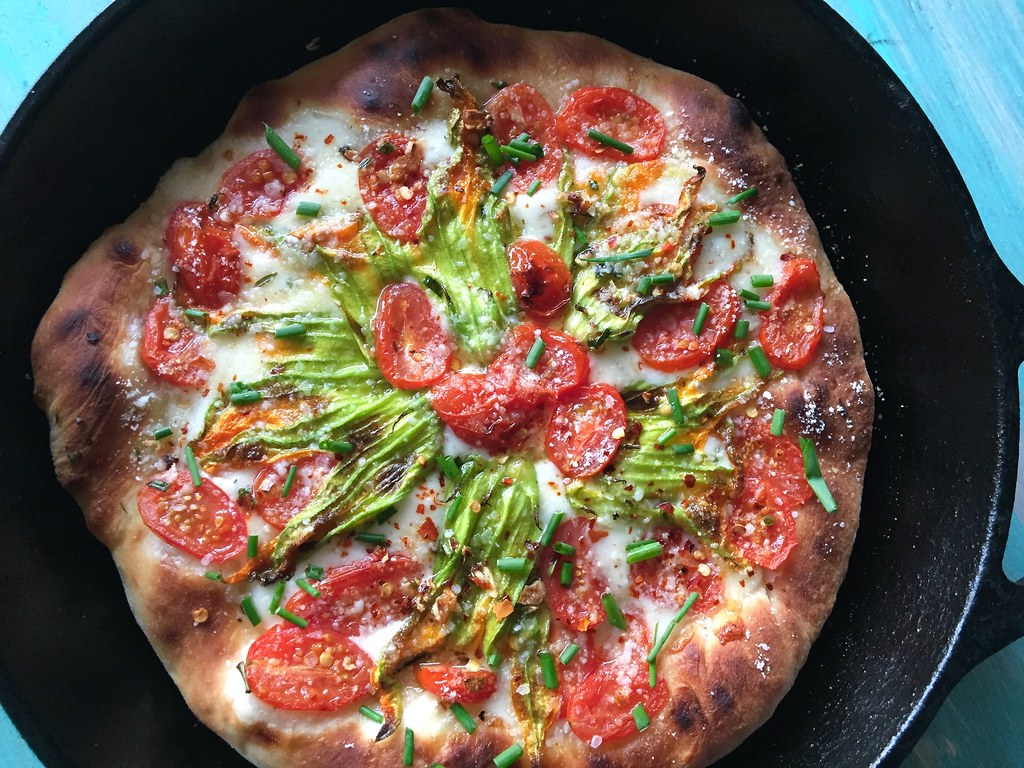 Summer Squash Blossom Pizza