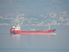 Oil/chemical tanker 'Azur' between Cesme, Turkey and Chios (background), Greece