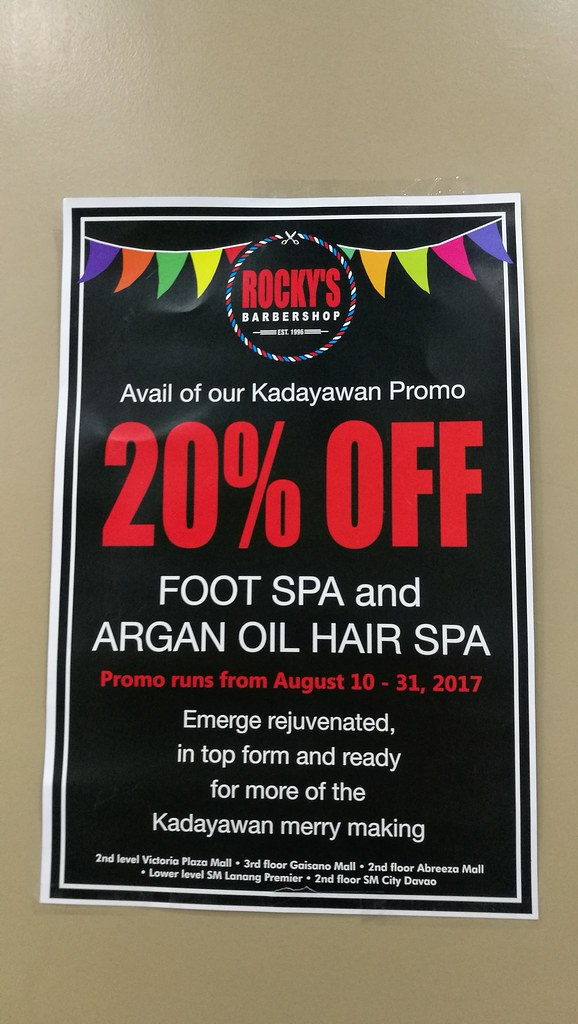 Rockys Barbershop SM Davao argan oil hair spa and foot spa for both men and women IMG_20170809_122701