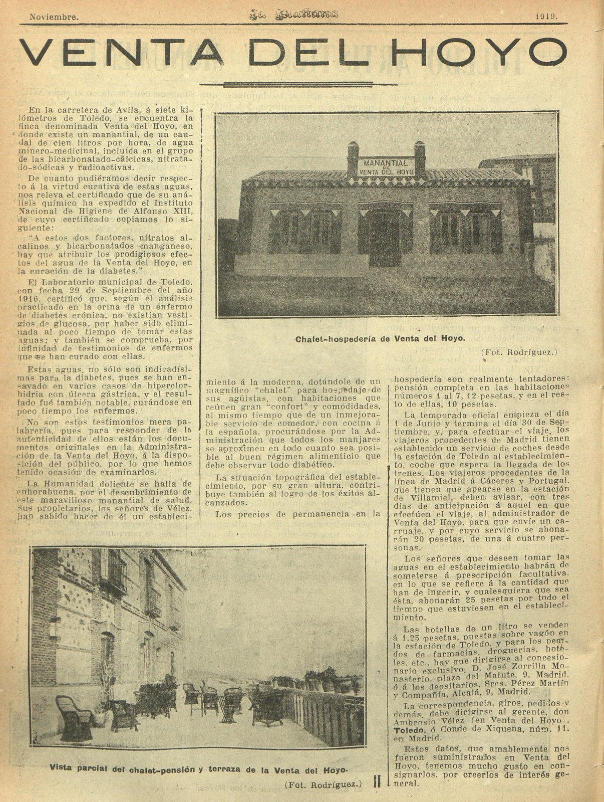 9 de noviembre de 1919, reportaje de la Venta del hoyo en La Mañana