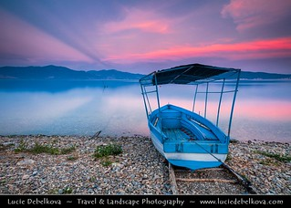 Macedonia (FYROM) - Galičica National Park - Great Prespa Lake - UNESCO Biosphere - Lonely boat at Sunset
