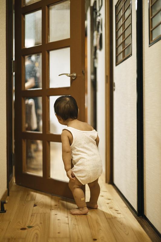 Looking through the glass door.