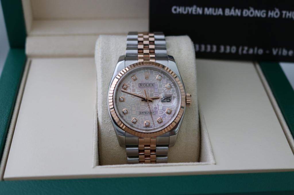 Đồng hồ rolex datejust 6 số 116231 – đè mi vàng hồng – mặt vi tính xoàn – size 36
