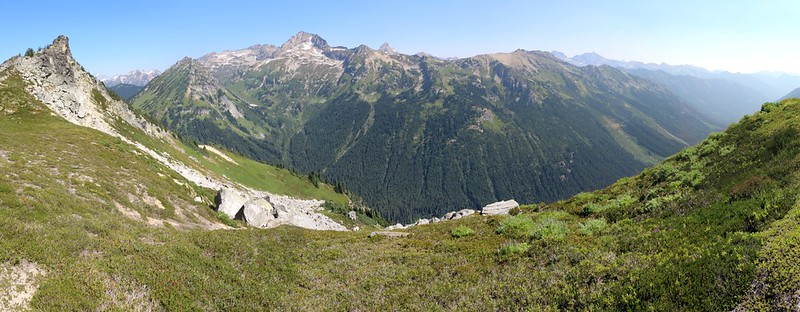 Panorama shot looking out over Buck Creek from the High Pass Trail with Fortress Mountain left of center