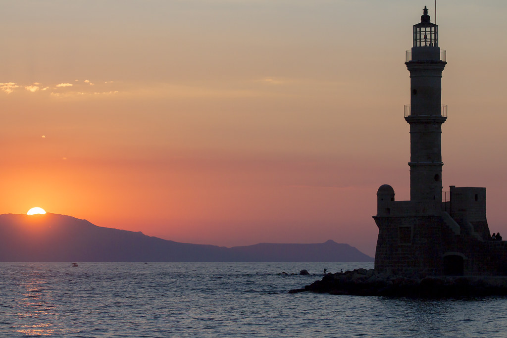 Lighthouse - Sunset in Old Harbour in Chania - Crete, Greece