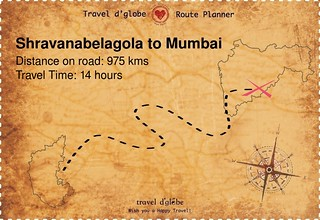 Map from Shravanabelagola to Mumbai