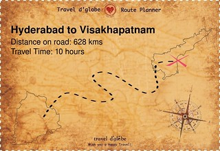 Map from Hyderabad to Visakhapatnam