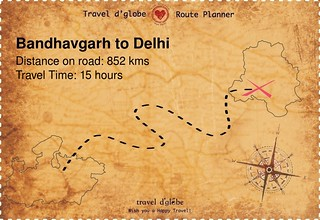Map from Bandhavgarh to Delhi