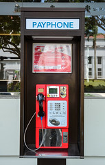 Payphone booth at downtown in Singapore