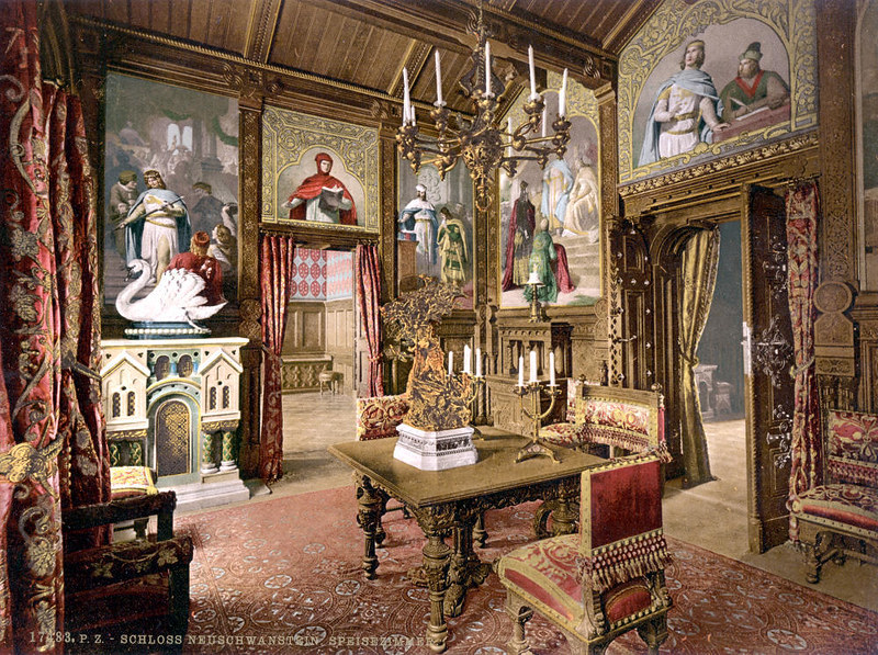 Dining room, Neuschwanstein Castle, c. 1895