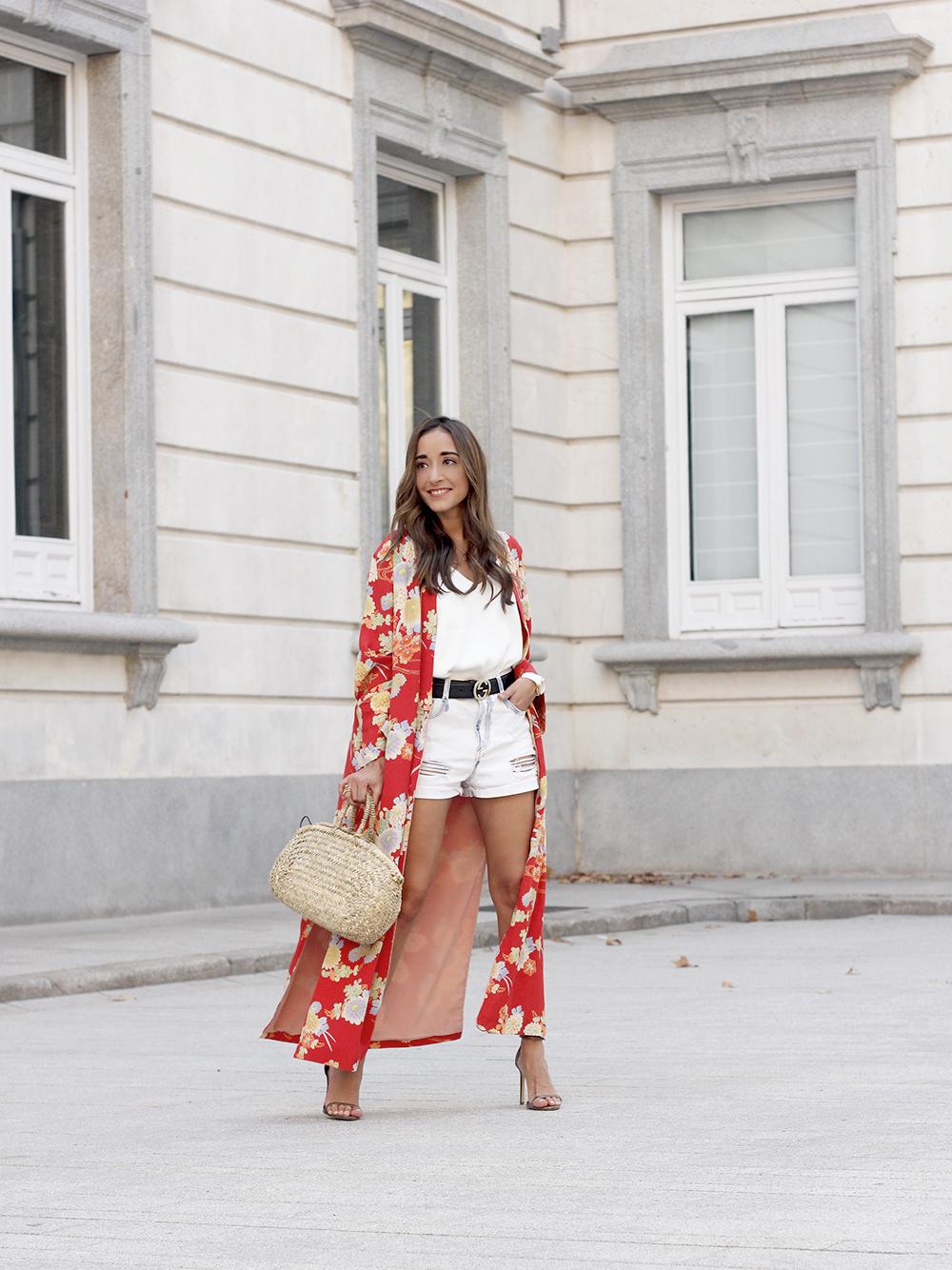 Flowered maxi kimono denim short heels summer girl style fashion04
