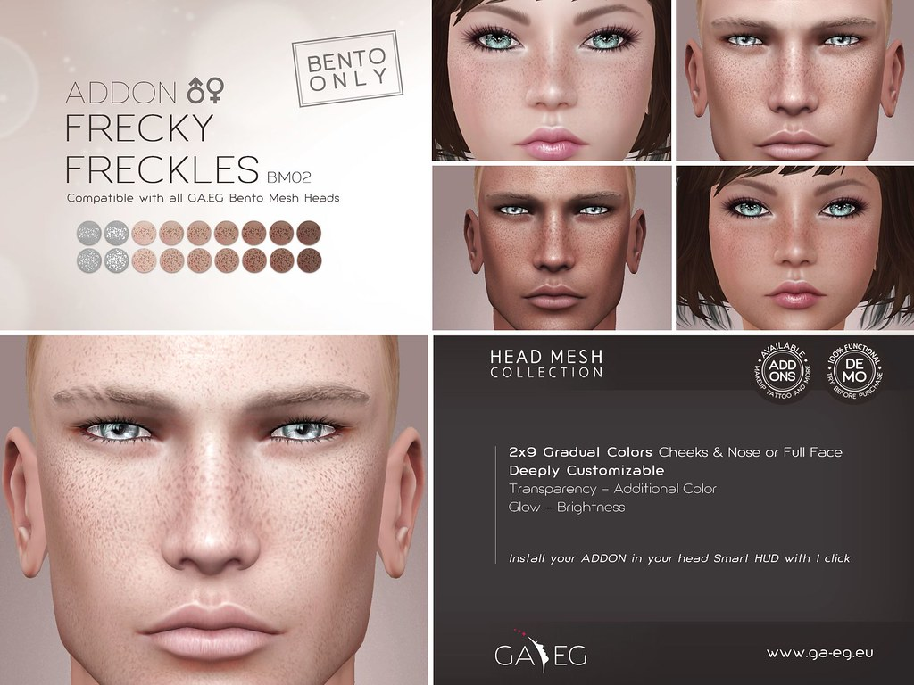 [GA.EG] Mesh Heads Addon - BM02 Frecky Freckles - SecondLifeHub.com