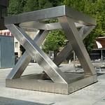 Z-Cube Sculpture (1997) by Georg Malin, Vaduz, Liechtenstein