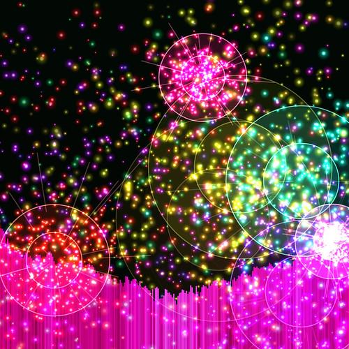 JS_Music Player_SS_(2017_09_17)_2_Cropped_1 HTML5 ミュージック プレイヤーのスクリーンショット画像。 黒い背景の上に多数の色とりどりの二重の光る円環があり、円環の中心からその円環と同色の多数の輝く粒子と光線が放出されている。 画面の下方には音楽のスペクトラム アナライザーのヴィジュアライザーが描画されており、垂直の赤紫色のバーが多数横方向に並んで伸び縮みしている。 赤紫色のバーは明るさと色相に微妙なグラデーションが掛かっている。