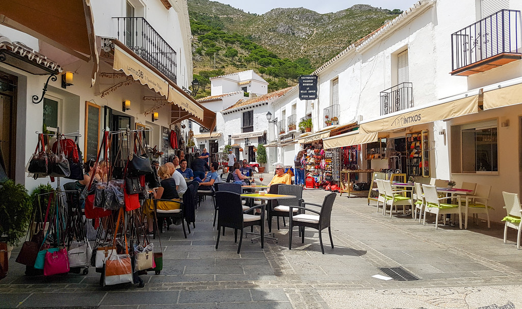 Terraces and shops in Mijas Pueblo