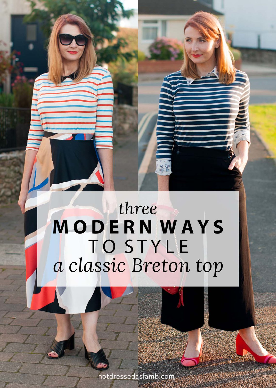 3 creative ways to style a Breton stripe top: Office chic/workwear, casual weekend wear and date night outfit | Not Dressed As Lamb, over 40 style