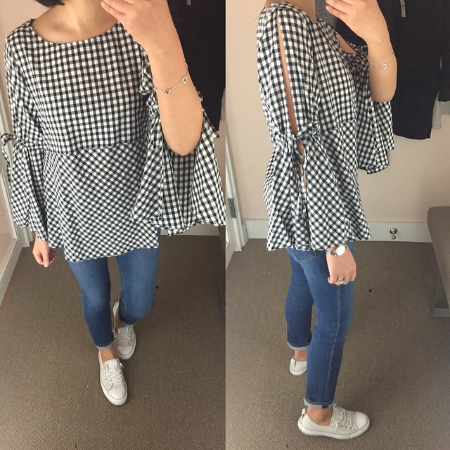 LOFT Gingham Tie Split Bell Sleeve Top, size XXSP