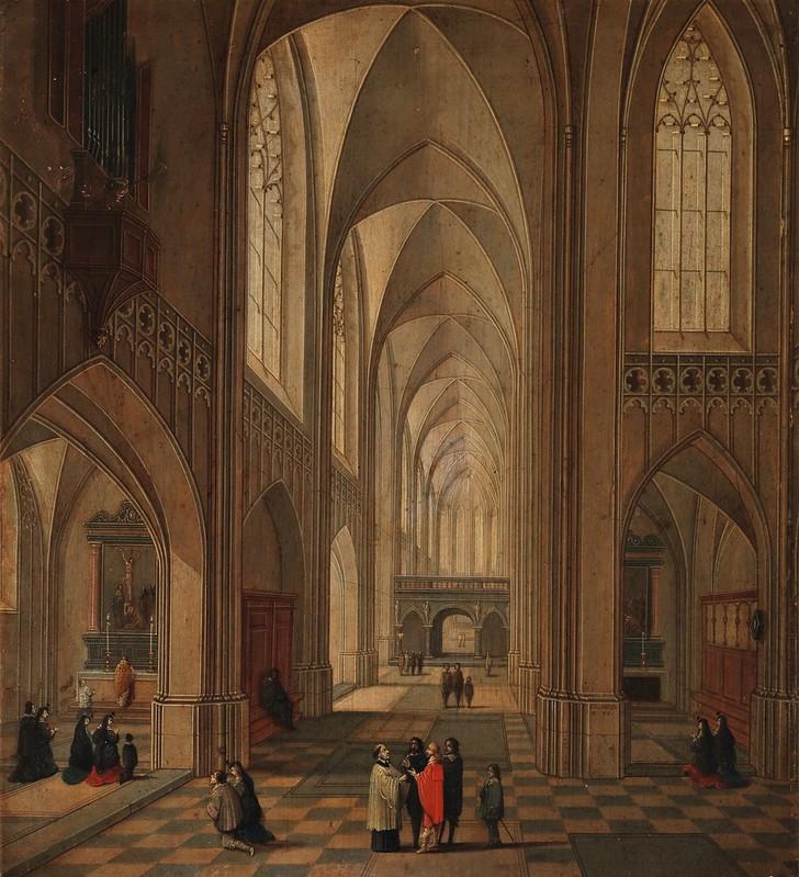 Lodewijck Neefs - Interior de una iglesia (1646)