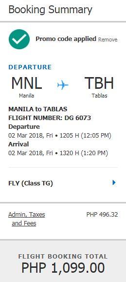 Manila to Tablas March 2, 2018 Cebu Pacific Air Promo