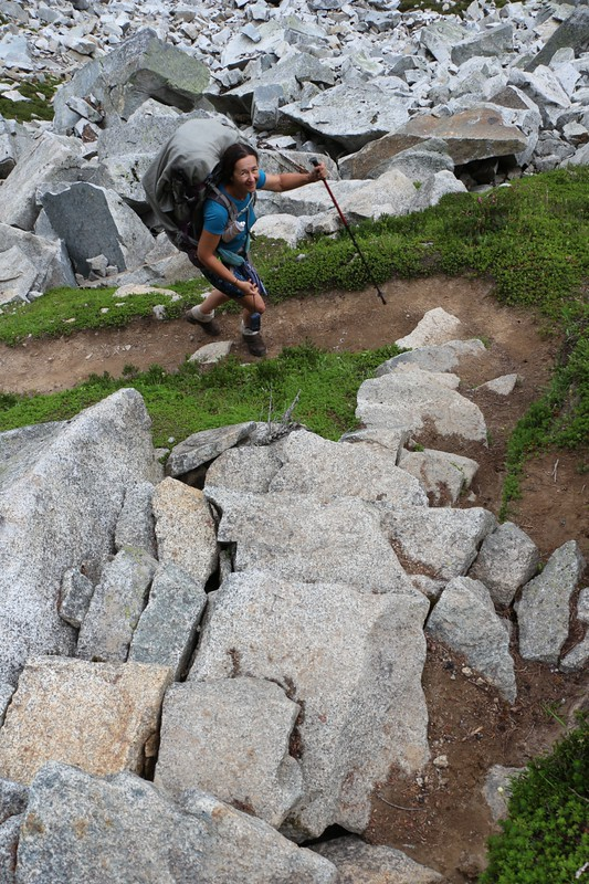 The Cloudy Pass Hiker Shortcut Trail is a lot of fun to hike as it climbs over talus and other obstacle