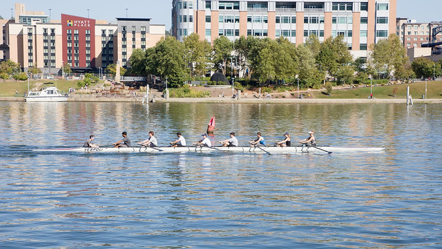 rowers training on the Allegheny river.