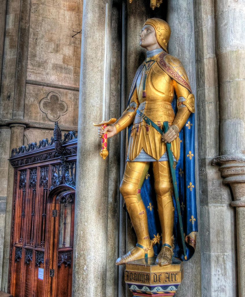 The statue of Joan of Arc is in Winchester Cathedral. Credit Neil Howard, flickr