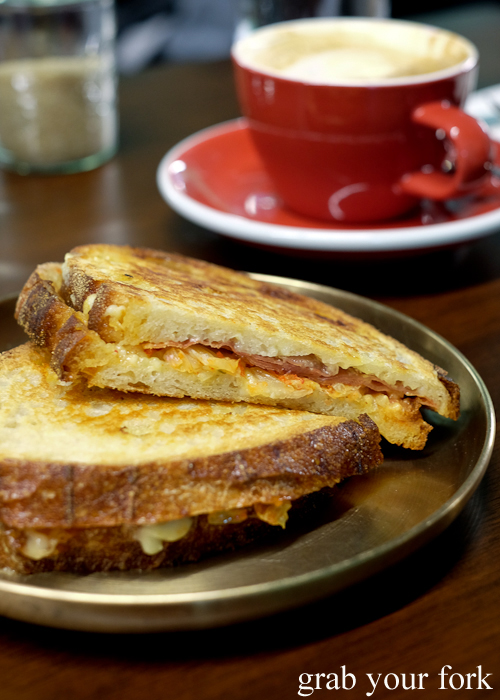 Kimchi, jamon and Emmental toastie at Paper Bird in Potts Point