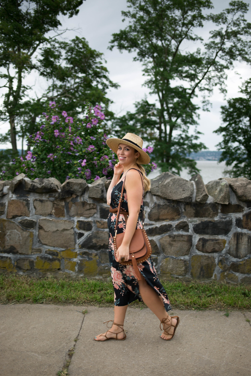 Billabong Dreamy Garden Slip Dress Brixton Joanna Straw Hat Nyack NY Jackie Giardina Living After Midnite Style Blogger