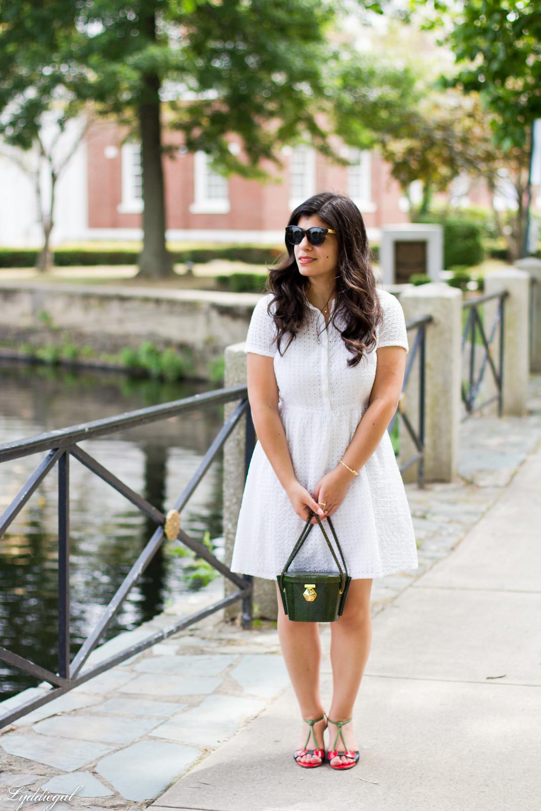 white eyelet lace dress, green snake box bag, cherry pumps-1.jpg