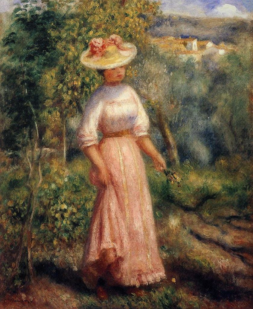 Young Woman in Red in the Fields by Pierre Auguste Renoir, 1900