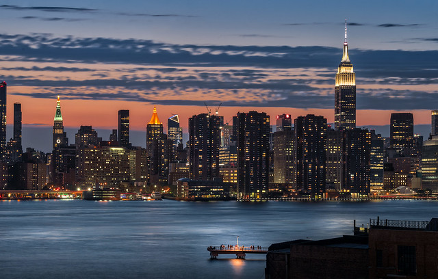 Manhattan skyline: nighttime view from Greenpoint vantage