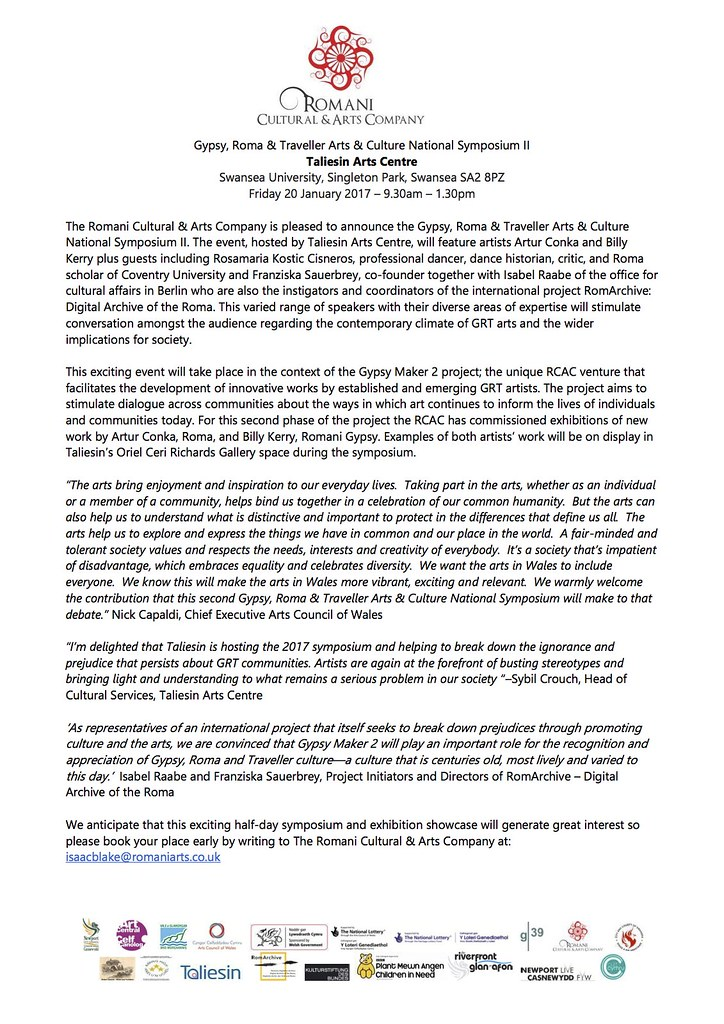The Gypsy Roma Traveller Arts  Culture National Symposium II English press release