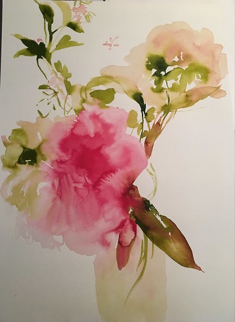 Pink Peony, 2017, Acrylic on Paper, 18x24