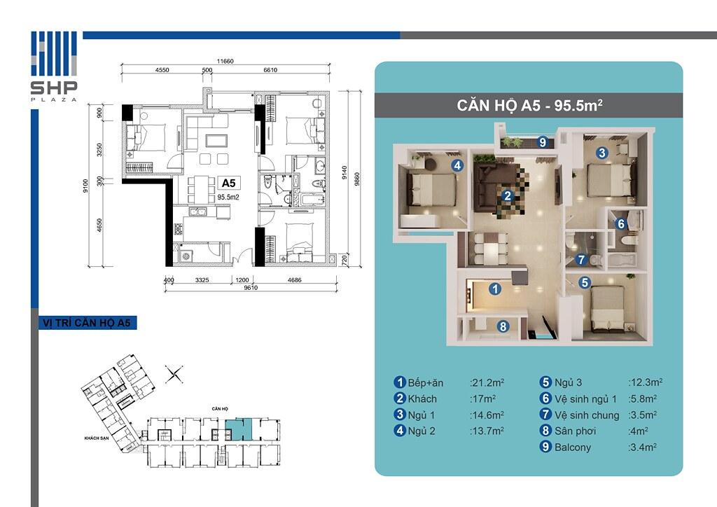 """Mẫu A5 - loại 95.5m2 - Tòa nhà cho thuê căn hộ SHP  <img src=""""images/"""" width="""""""" height="""""""" alt=""""Công ty Bất Động Sản Tanlong Land"""">"""