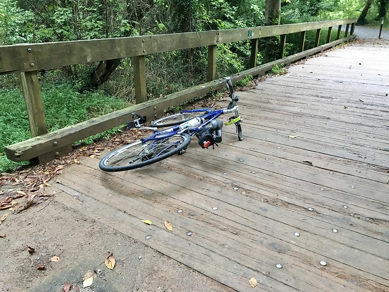 90 degree turn + slippery boardwalk = crash