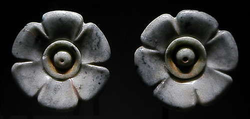 Jade ear plugs in the Antwerp Anthropology Museum in Belgium
