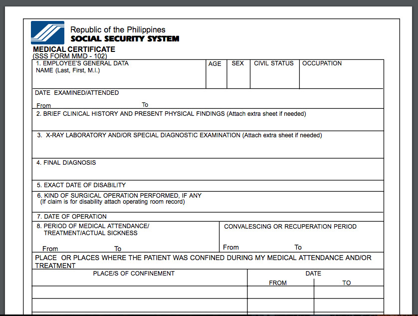 SSS Medical Certificate Form