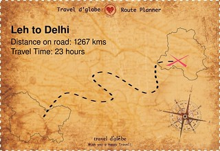 Map from Leh to Delhi