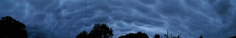 Panorama shot of mammatus over the house