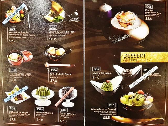 Misato Menu - Desserts