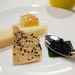 Ossau Iraty sheep's milk cheese, bluberry compote, honey comb paired with Butterfly of Taiwan oolong tea