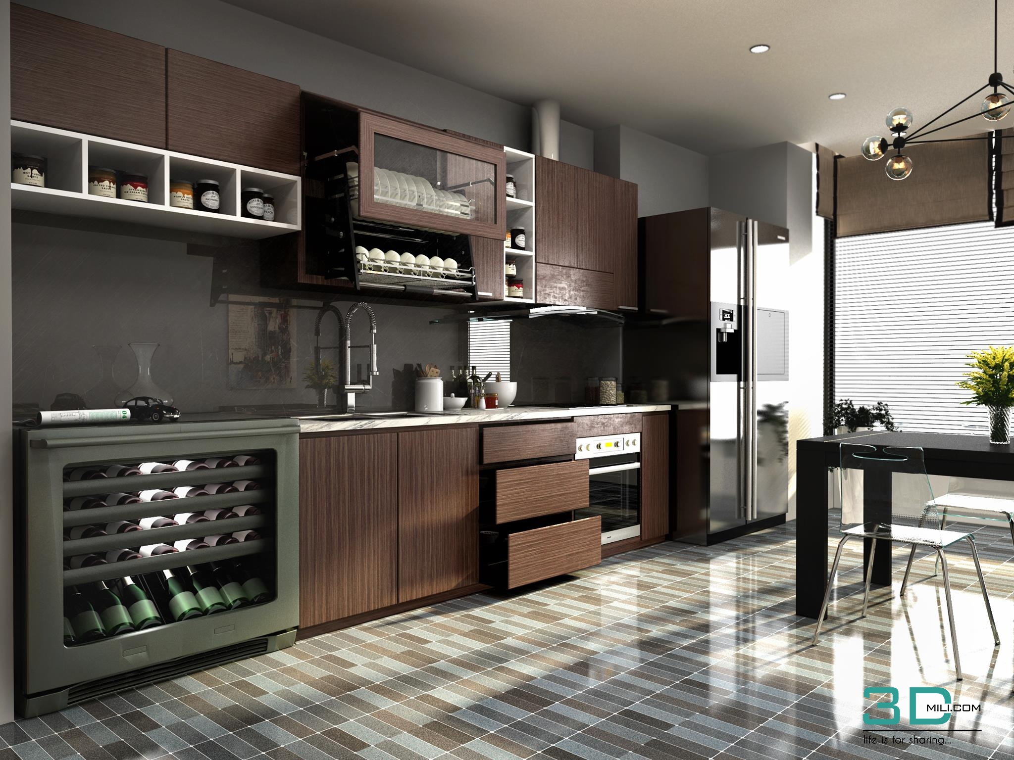 Living And Kitchen Room 3dsmax Vray 3 5 3d Mili Download 3d