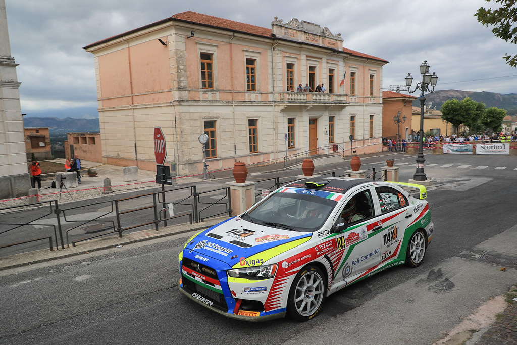 24 ERDI Tibor Jr. (HUN) PAPP Gyorgy (HUN) Mitsubishi Lancer Evo X action during the 2017 European Rally Championship ERC Rally di Roma Capitale,  from september 15 to 17 , at Fiuggi, Italia - Photo Jorge Cunha / DPPI