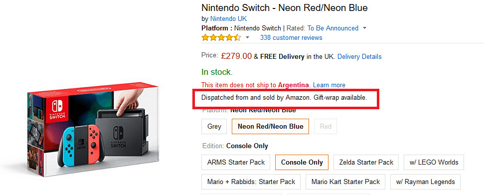 comprar Nintendo Switch Argentina en amazon