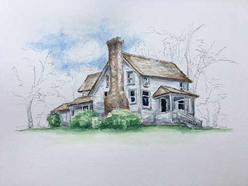 Sketched the Laura Ingalls Wilder home in Mansfield, Missouri, yesterday, for work.