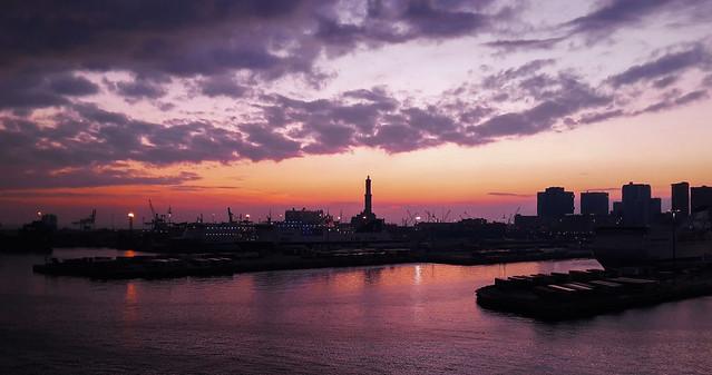 Commercial port sunset