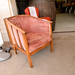 Pink fabric solid oak frame club chair E55.00