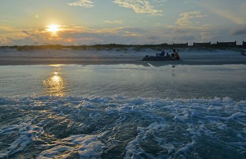 northcarolina beach sunset water sand topsailbeach topsailisland serenitypoint usa