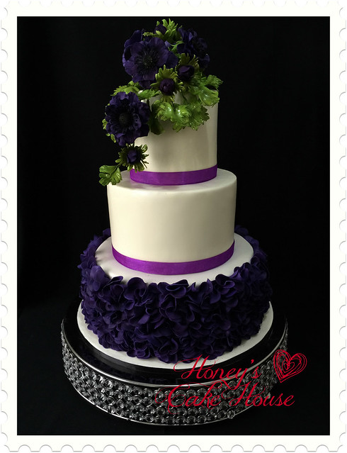 Wedding Purple Ruffled Cake by Arnold & Michelle Piana of Honey's Cake House
