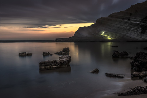 realmonte scala dei turchi sicilia seascape mountain coastline long exposure serene night